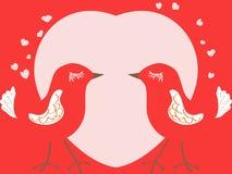 Валентайн сердца s дня карточки птиц Стоковая Фотография