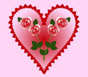 Валентайн с сердцами и розами Стоковая Фотография RF
