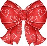 Валентайн тесемок сердца смычка Стоковые Фото