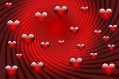 Валентайн торнадоа сердец карточки Стоковые Изображения