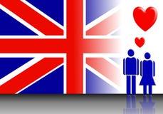 Валентайн флага Англии пар Стоковая Фотография