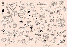 Валентайн doodle s дня установленное Стоковая Фотография