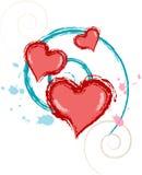 Валентайн vrs8 сердца grunge Стоковые Фотографии RF