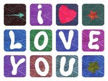 Валентинка с объявлением влюбленности для ` s валентинки St Цветастый вектор Стоковая Фотография RF
