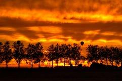 валы силуэта воздушного шара горячевоздушные Стоковые Изображения