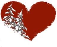 валы формы сосенки иллюстрации сердца снежные Стоковое Изображение RF