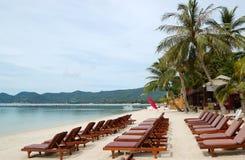 валы sunbeds ладони кокоса пляжа Стоковое фото RF