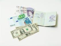 Валюта и пасспорт Стоковое Изображение