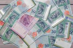Валюта малайзийского ринггита на предпосылке картины Стоковые Фотографии RF