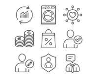 Валюта, редактирует потребителя и значков стиральной машины Сеть датировка, знаки безопасностью и хозяйственной сумкой бесплатная иллюстрация