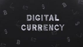 Валюта цифров названия на черной предпосылке с символами денег сток-видео