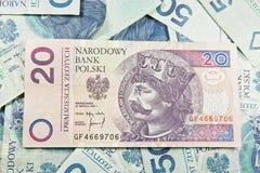 Валюта 20 Польша PLN Стоковое Изображение RF