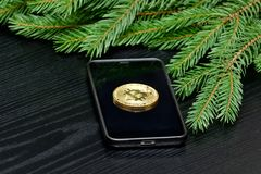 Валюта Bitcoin монетки секретная на телефоне Елевая ветви задняя часть дальше Стоковая Фотография
