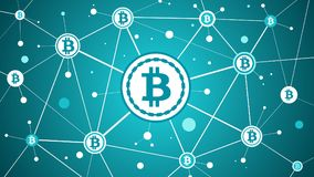 Валюта Bitcoin секретная и предпосылка сини blockchain иллюстрация вектора