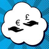 Валютная биржа из рук в руки Евро и фунт вектор blA иллюстрация вектора
