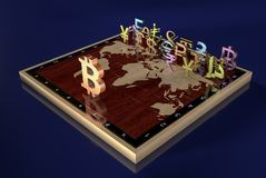 Валюты мира против cryptocurrency Bitcoin стоковые изображения