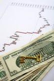 валюты пользуются ключом к торгуя богатству Стоковая Фотография