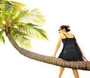 вал девушки кокоса сидя Стоковые Изображения