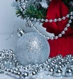вал декора рождества серебряный Стоковое Изображение