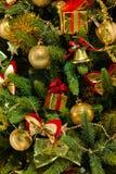 Вал ели рождества с цветастыми светами закрывает вверх Стоковые Фотографии RF