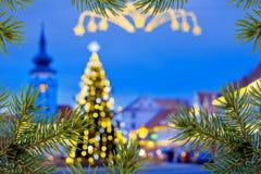 вал зеленого цвета рамки ели рождества предпосылки Стоковое Фото