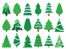 вал рождества зеленый Простые деревья Xmas формируют, комплект значка вектора природы изолированный елью иллюстрация штока
