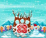 вал снежка дома иллюстрация штока