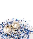 вал украшений рождества серебряный стоковая фотография