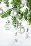вал украшения рождества глянцеватый серебряный Стоковое Изображение RF