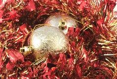 вал украшения christmass золотистый красный Стоковая Фотография