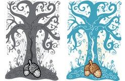 вал tattoo уклада жизни иллюстрации жолудя иллюстрация вектора