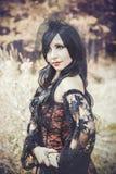 Вампир девушки в винтажном платье Стоковое фото RF