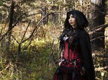 Вампир девушки в винтажном платье Стоковые Фотографии RF