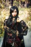 Вампир девушки в винтажном платье Стоковое Изображение RF