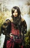 Вампир девушки в винтажном платье Стоковая Фотография RF