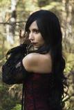 Вампир девушки в винтажном платье Стоковые Изображения RF