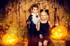 Вампир и черный кот Стоковое Изображение RF