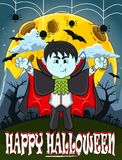 Вампир на счастливый хеллоуин с предпосылкой стоковое изображение rf