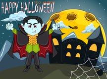 Вампир на счастливый хеллоуин с предпосылкой стоковое фото