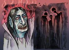 Вампир с злими призраками около его бесплатная иллюстрация