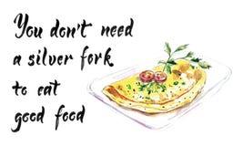 Вам не нужно серебряная вилка съесть хорошую еду, иллюстрацию вектора акварели иллюстрация вектора