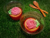 Ванильные пирожные в красных бумажных стаканчиках и ясных пластиковых чашках украсили со свежими сметанообразными розовыми розами стоковое изображение rf