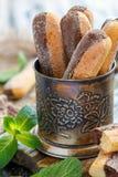 Ванильные печенья Savoiardi губки с шоколадом Стоковое Фото