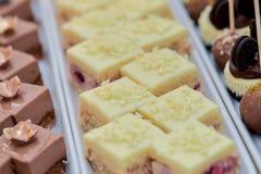 Ванильные cream торты и шоколадные торты поленики Стоковое фото RF