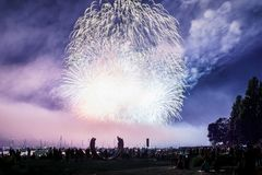 VANCOUVER, CANADA - JULY 31, 2019: Honda Celebration of Light Canada team perform fireworks in Vancouver