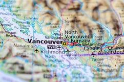 Ванкувер на карте Стоковые Фотографии RF