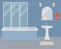 Ванная комната в голубом цвете Стоковое Фото