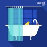 Ванная комната в плоском стиле Стоковые Изображения