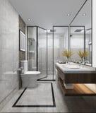 ванная комната и туалет современного дизайна перевода 3d роскошная Стоковое Фото