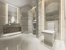 ванная комната и туалет современного дизайна перевода 3d роскошная Стоковая Фотография RF